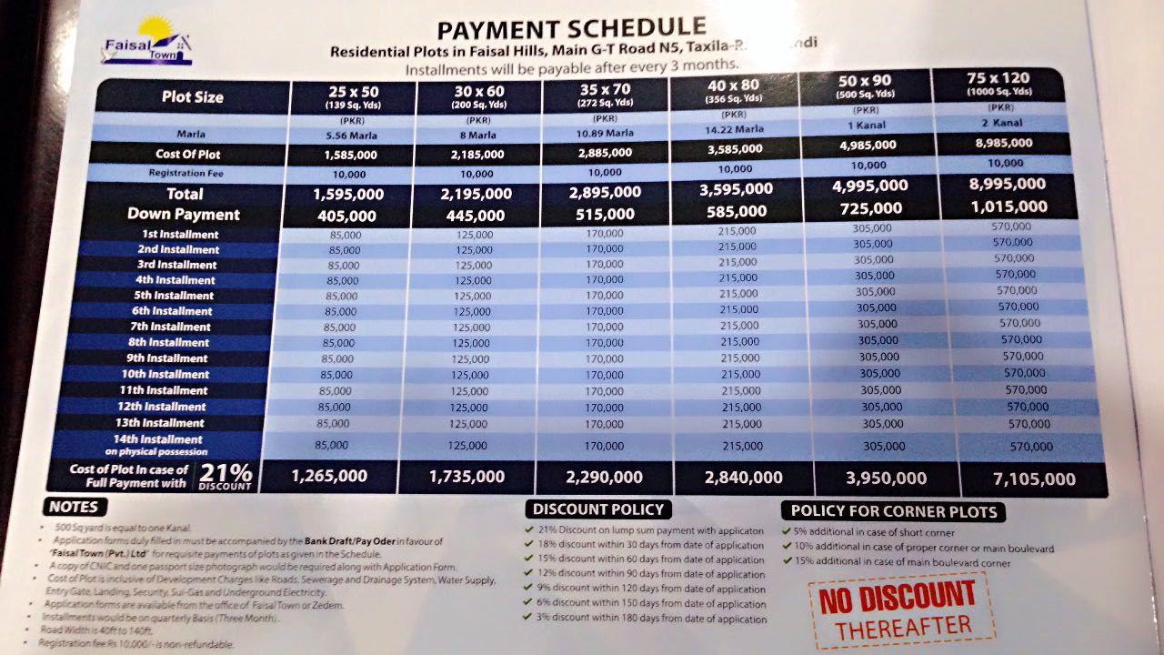 Faisal Hills price schedule 1