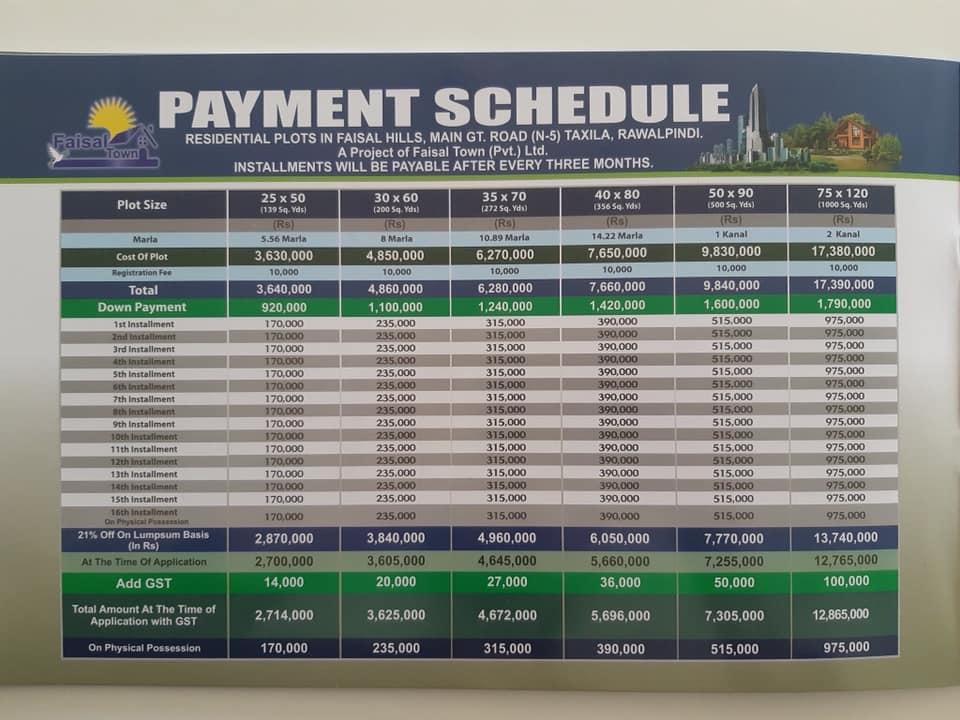 Faisal Hills price schedule 4