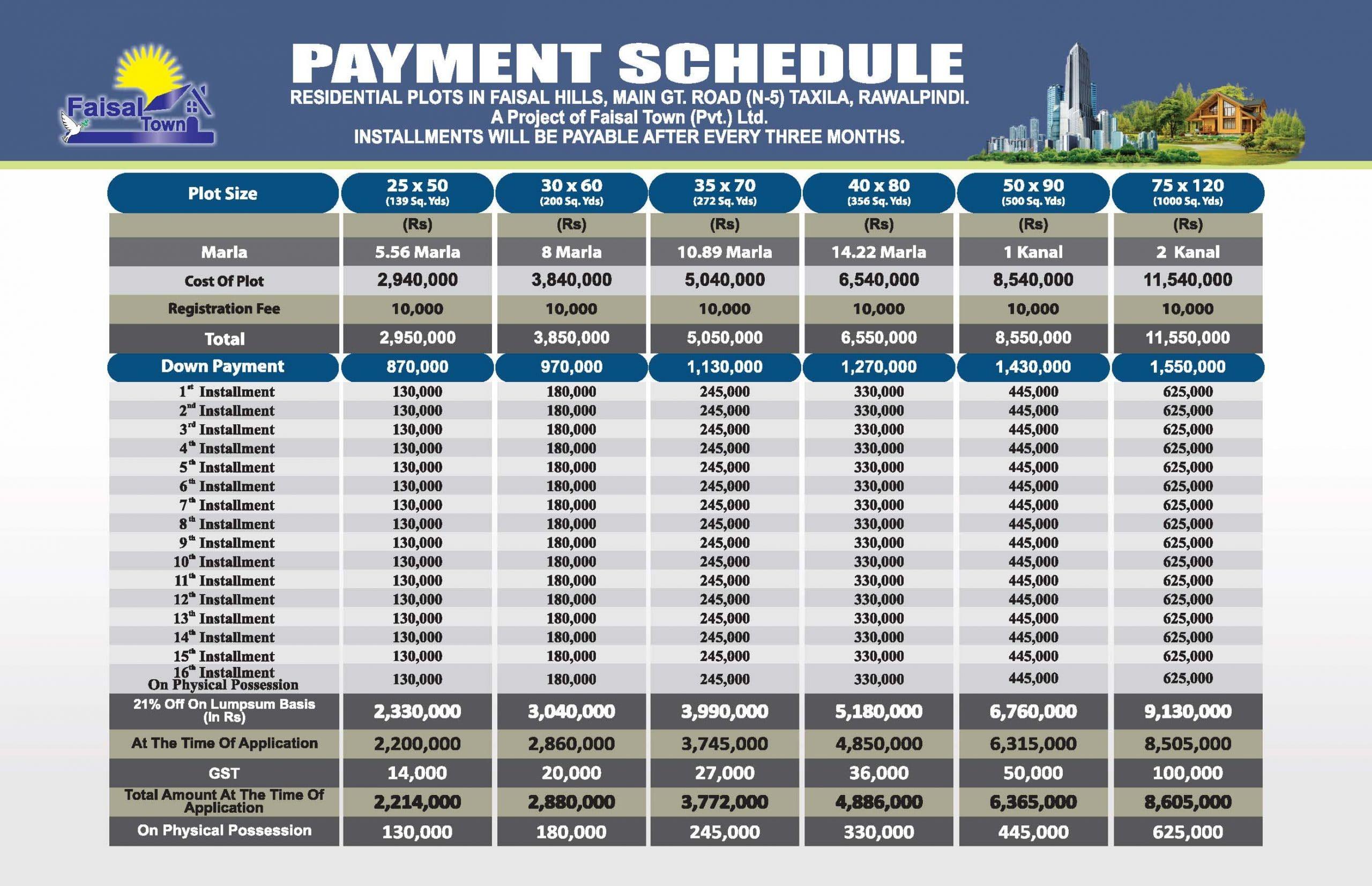 Faisal Hills price schedule 3