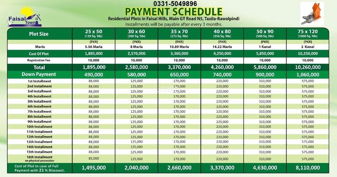 Faisal Hills price schedule 2