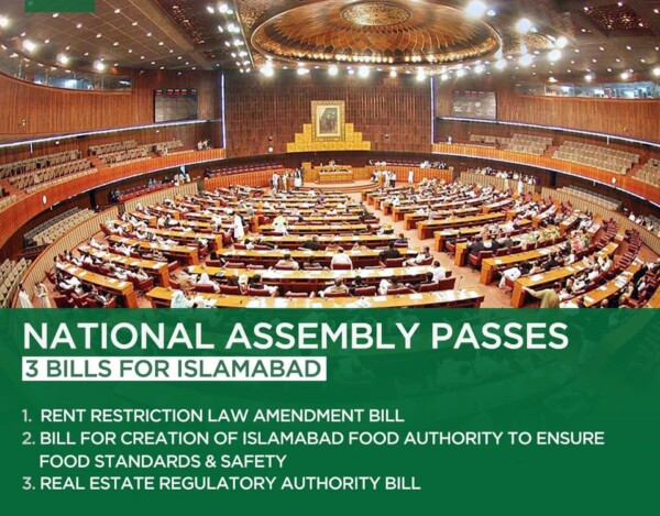NA passes 'Islamabad Rent Restriction Amendment Bill and Islamabad Real Estate Regulation and Development Bill