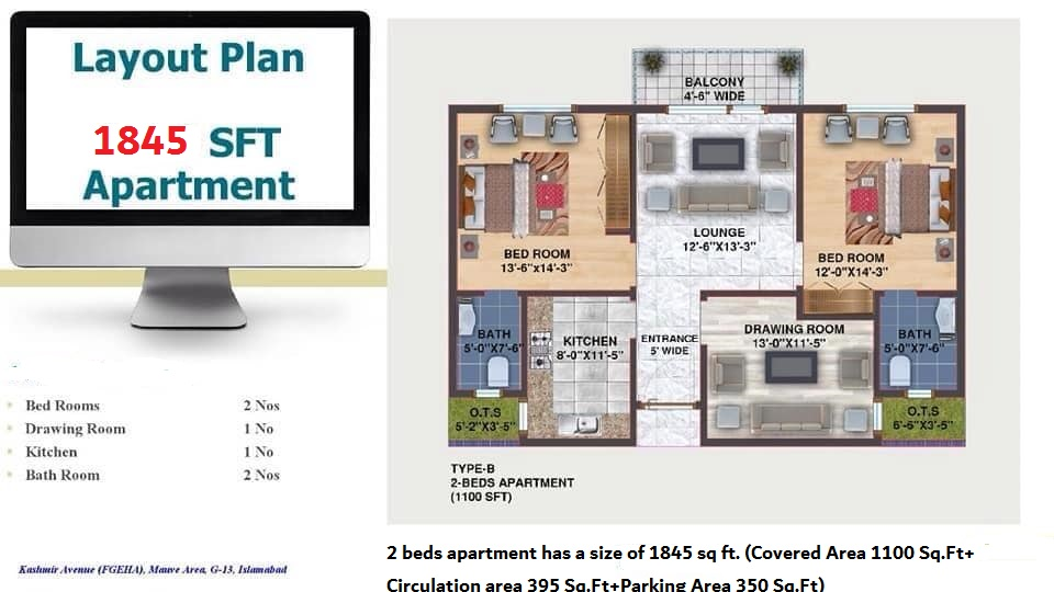 Category B 2 beds apartment