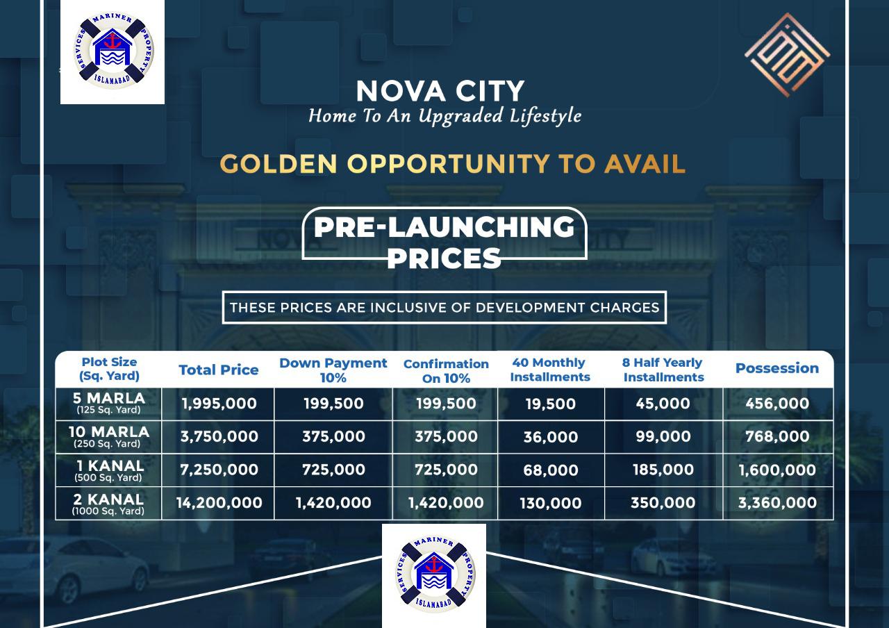 Payment Plan Nova City Islamabad